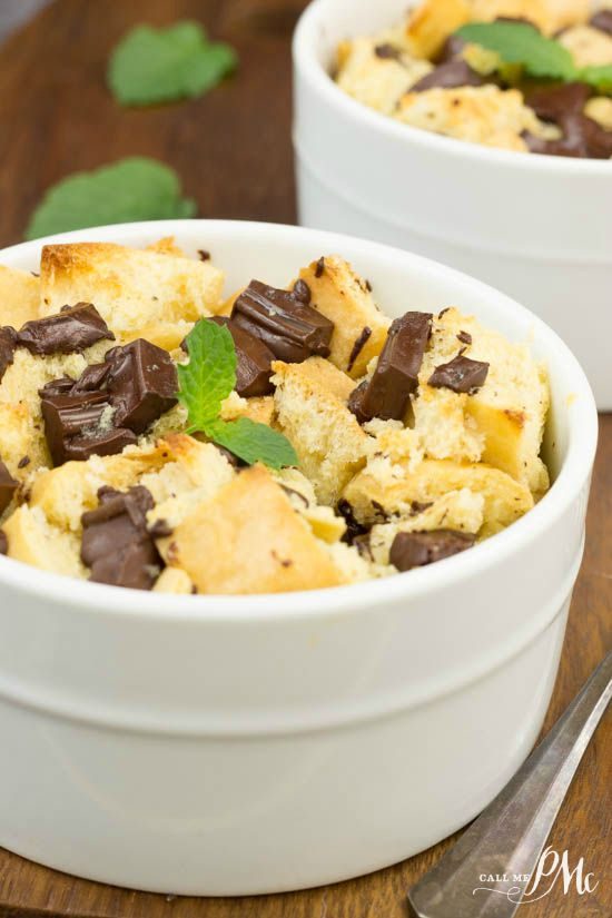 Rich and creamy, Chocolate Chunk Bread Pudding has large chunks of chocolate.