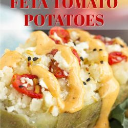 Twice Baked Feta Tomato Potatoes make a delicious main or side dish and compliment any main entree. They're cheesy and full of flavor.#stuffedpotatoes #twicebakedpotatoes #recipe #sidedish #collegestudentrecipes #callmepmc