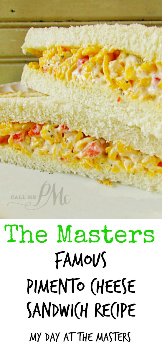 My Day at the Masters and The Masters Famous Pimento Cheese SandwichThe iconic sandwich at The Masters golf tournament is the Pimento Cheese Sandwich! You just must have the Pimento Cheese Sandwich every time you visit The Masters!