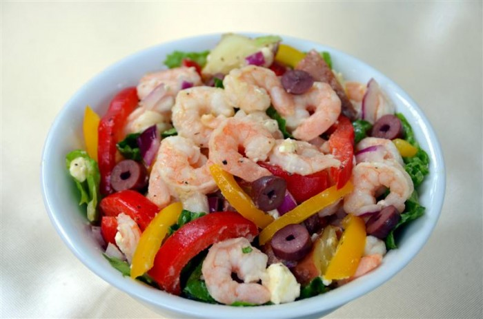 mediterranean poato salad  shrimp and feta