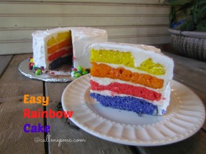 Easy Rainbow Cake - the easiest rainbow cake, step-by-step tutorial to this short-cut beautiful and delicious cake. #birthday #cakes