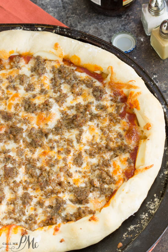 Take Pizza night to the next level with Stuffed Crust Pizza! It's crusty and soft with just the perfect amount of 'pull' so desirable in pizza crust. Most notable is the cheesy stuffed crust. Your family will love this recipe!