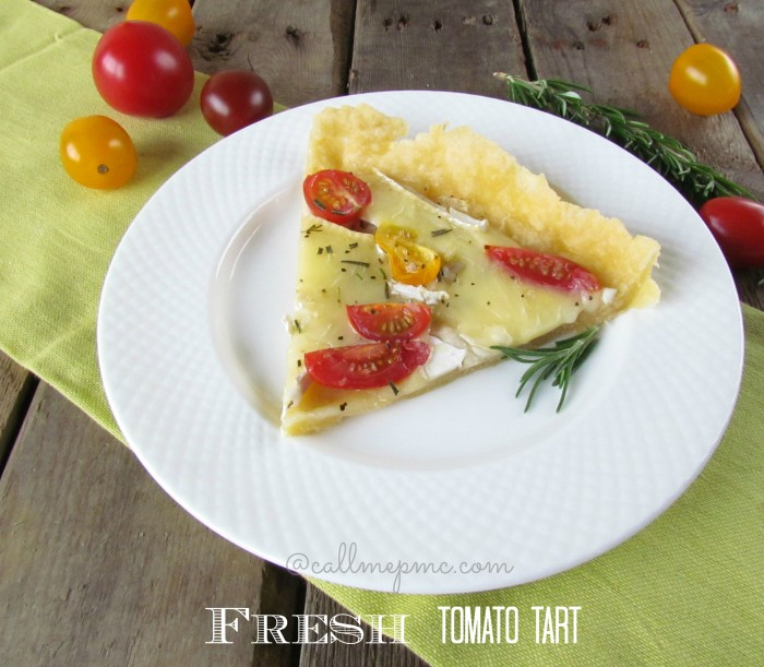 Tomato Cheese Tart from www.callmepmc.com #tomato #tart #callmepmc Easier and faster than Tomato Pie, you'll love the bold flavor of this Tomato and Cheese Tart