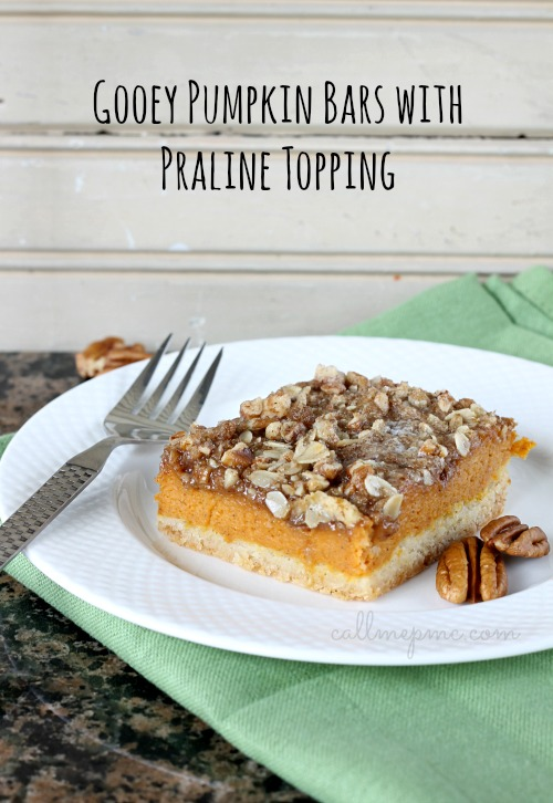 Gooey Pumpkin Bars with Praline Topping is reminiscent of Libby's famous pumpkin pie. My version as a sweet praline top.  #recipe #pumpkin #pumpkinpie #dessert