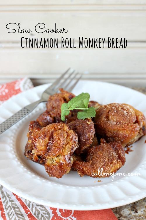 Slow Cooker Cinnamon Roll Monkey Bread via callmepmc.com