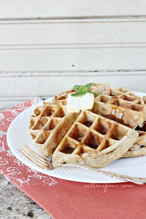 Apple Fritter Waffles with Caramel #callmepmc