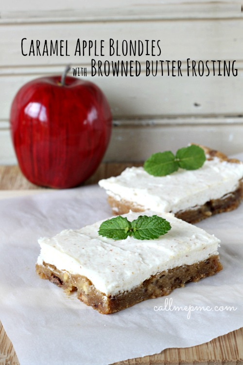 Caramel Apple Blondies wBrowned Butter Frosting
