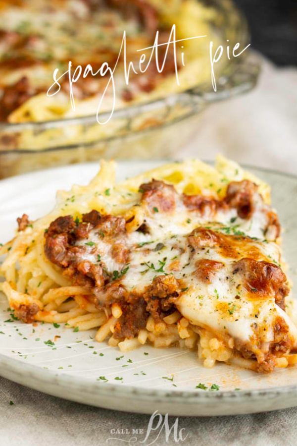 Easy, Delicious, and hearty, Spaghetti Pie is a family favorite casserole. This comforting meal is quick, easy to make, and very versatile. #pasta #spaghetti #cheese #homemade #easy #recipe #kidfriendly #familyfriendly