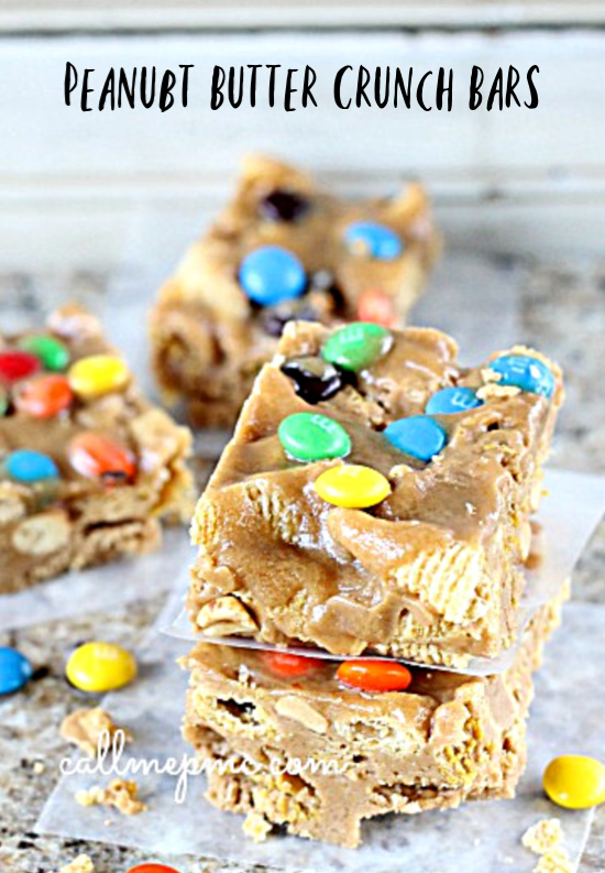 If you love salty sweet combos you'll love my Peanut Butter Crunch Bars. Reminiscent of corn flake cookies, they are loaded with peanut butter, Bugels, peanuts, and a little chocolate just for fun!