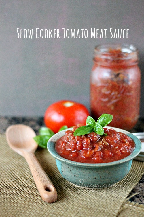 Slow Cooker Tomato Meat Sauce from #callmepmc use this sauce for pizza, spaghetti, lasagna, breadsticks