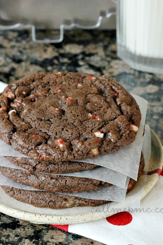 Deep rich chocolate cookies are studded with peppermint chip in my Chocolate Peppermint Chip Cookie Recipe. They are perfect for the holidays and cookie swaps!