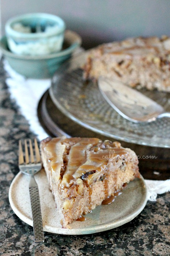 Upside-Down Maple Pear Walnut Skillet Cake is a simple but show-stopping dessert for fall and winter! #cake #dessert #recipe #walnuts #pears #callmepmc via @pmctunejones