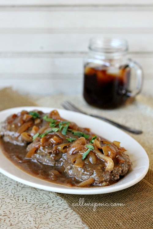 Hamburger Steak with Onions Brown Gravy Recipe - Perfectly tender beef patties simmered in a rich brown gravy! This is a family favorite! #gravy #browngravy #steaks #hamburgers #hamburgersteak #onions #comfortfood