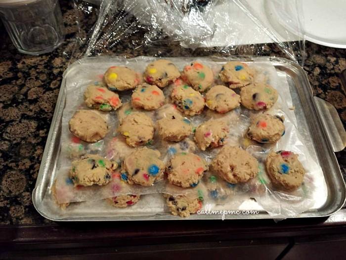 M&M cookies frozen