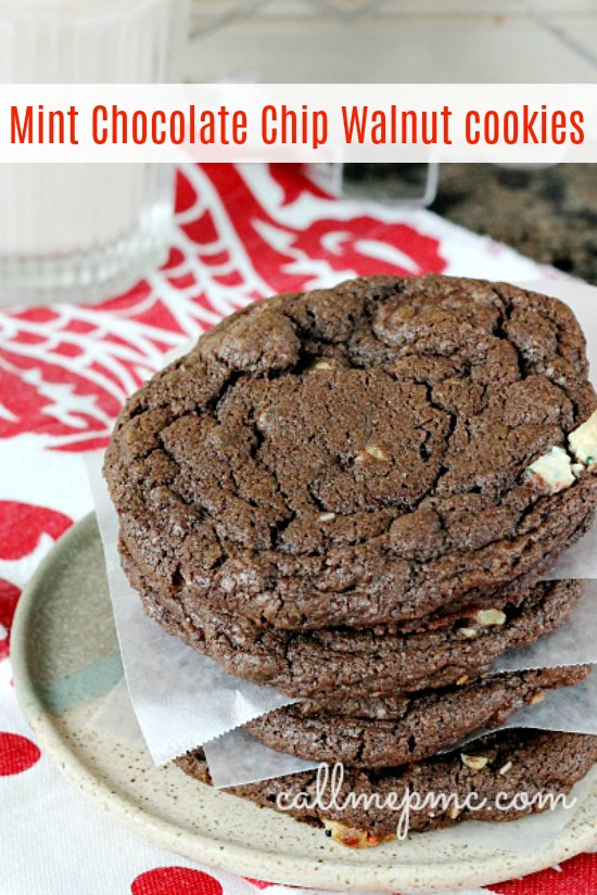 Mint Chocolate Chip Walnut Cookies are full of mint chocolate candies, chocolate chips, and walnuts. They are chewy in the center and crispy around the edges just how I like cookies best!