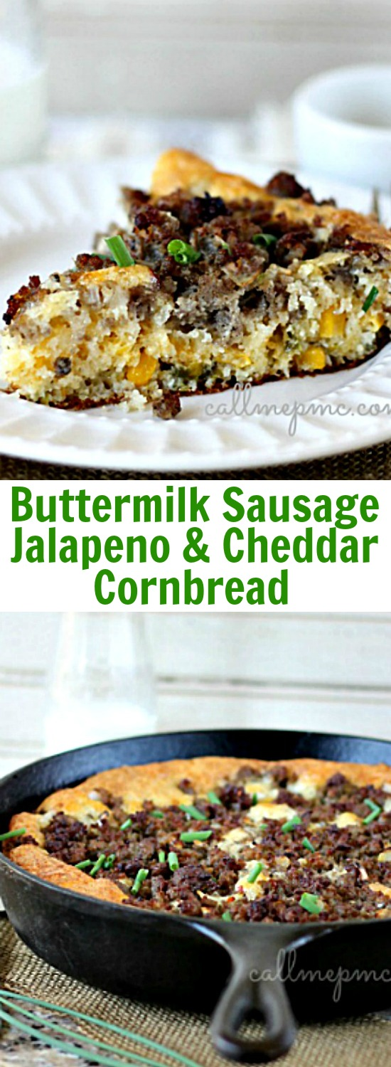 Spicy. Hearty. Simple. That's how I describe this Buttermilk Sausage Jalapeno Cheese Cornbread. You won't believe how heavenly this sausage studded cornbread is.