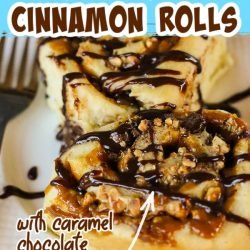 Snickers Bars Cinnamon Rolls, pillowy soft dough is full of buttery caramel, rich chocolate, and crunchy peanuts. These gourmet sweet rolls are pure decadence!