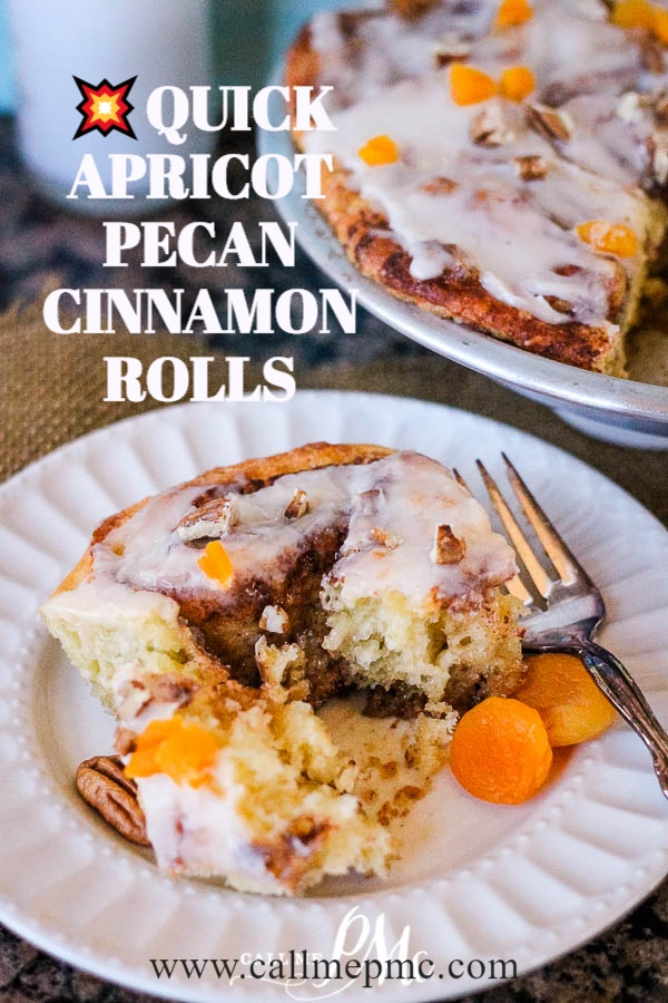 A quick-rise yeast dough makes these Quick Apricot Pecan Cinnamon Rolls a mouth-watering breakfast treat. #yeast #bread #cinnamon #cinnamonrolls #Cinnabon #breakfast