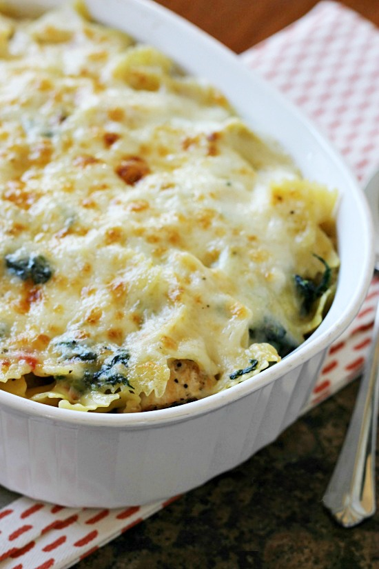... and bubbly my Spinach Artichoke Chicken Pasta Bake combines a classic