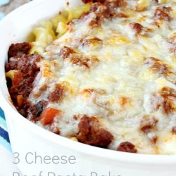 Convenient and tasty Three Cheese Beef Pasta Bake is sure to become a family favorite. Layers of hearty pasta, gooey cheese and tomato meat sauce is baked until golden brown!
