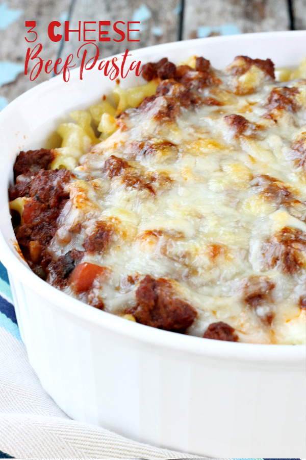 Convenient and tasty Three Cheese Beef Pasta Bake is sure to become a family favorite. #beef #pasta #recipe #tomatosauce #spaghetti #lasagna #ziti