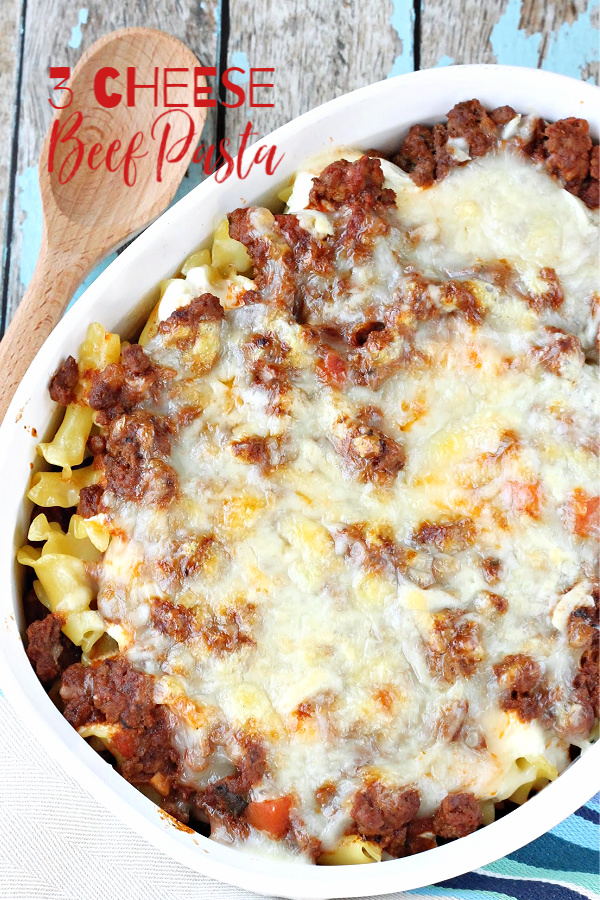Convenient and tasty Three Cheese Beef Pasta Bake is sure to become a family favorite. #beef #pasta #recipe #tomatosauce #spaghetti #lasagna #ziti  via @pmctunejones