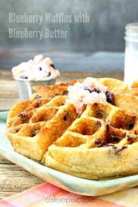 Blueberry Waffles with Blueberry Butter