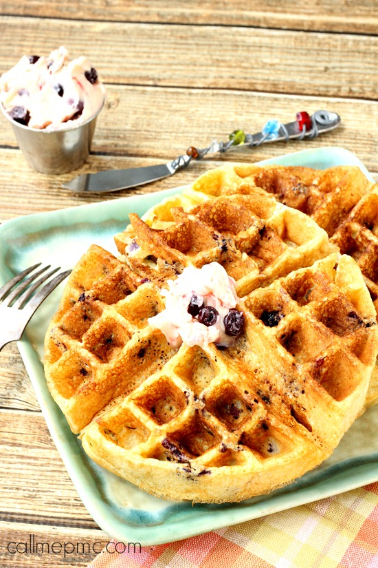Blueberry Cornmeal Waffles with Blueberry Butter