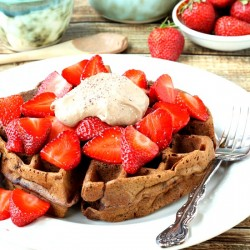 Double Chocolate Chip Waffles with Chocolate Cream