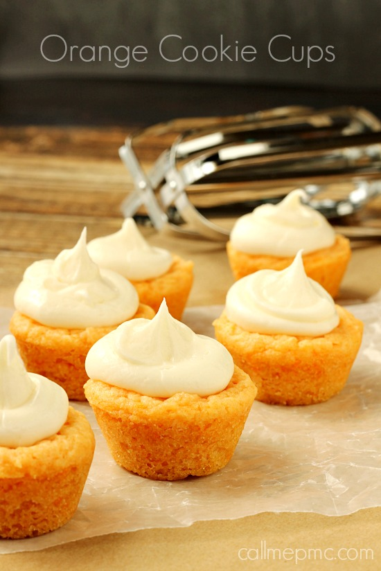 Orange Cookie Cups with Orange Cream Cheese Frosting