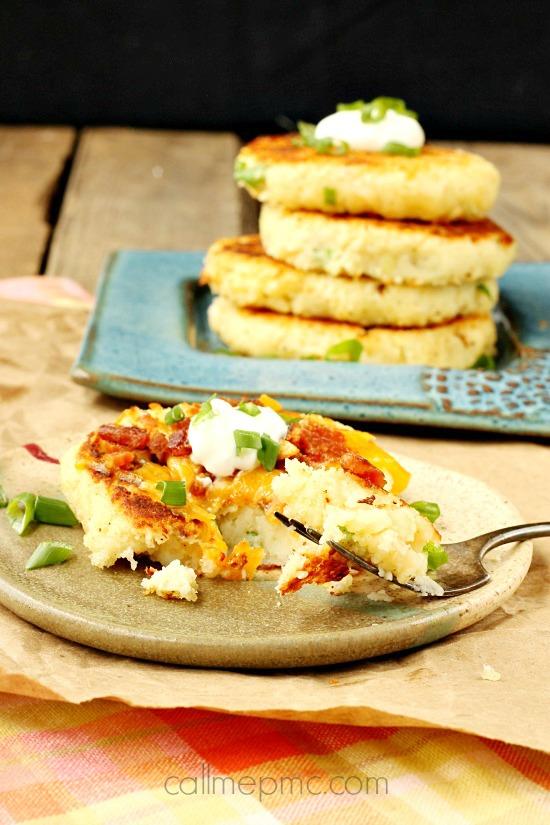 Mashed Parmesan Potato Cakes » Call Me PMc