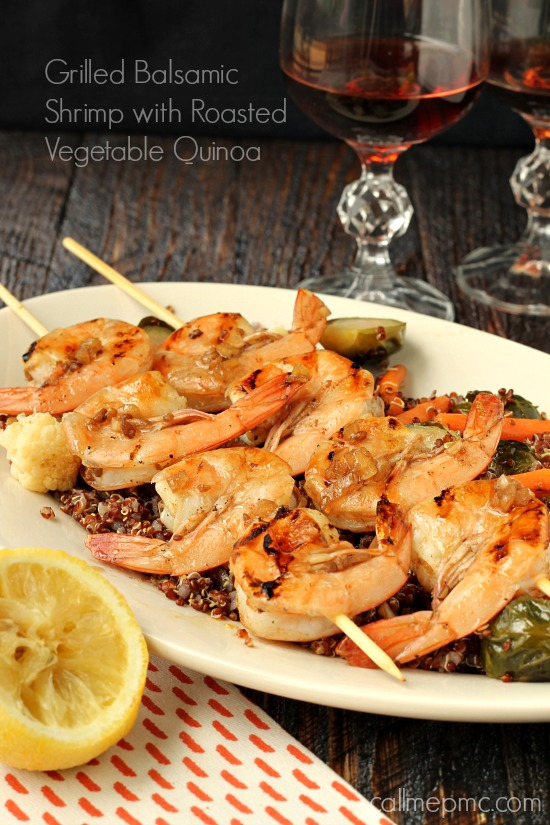 Grilled Balsamic Shrimp Roasted Vegetable Quinoa