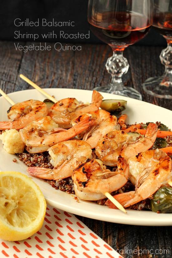 Grilled Balsamic Shrimp Roasted Vegetable Quinoa