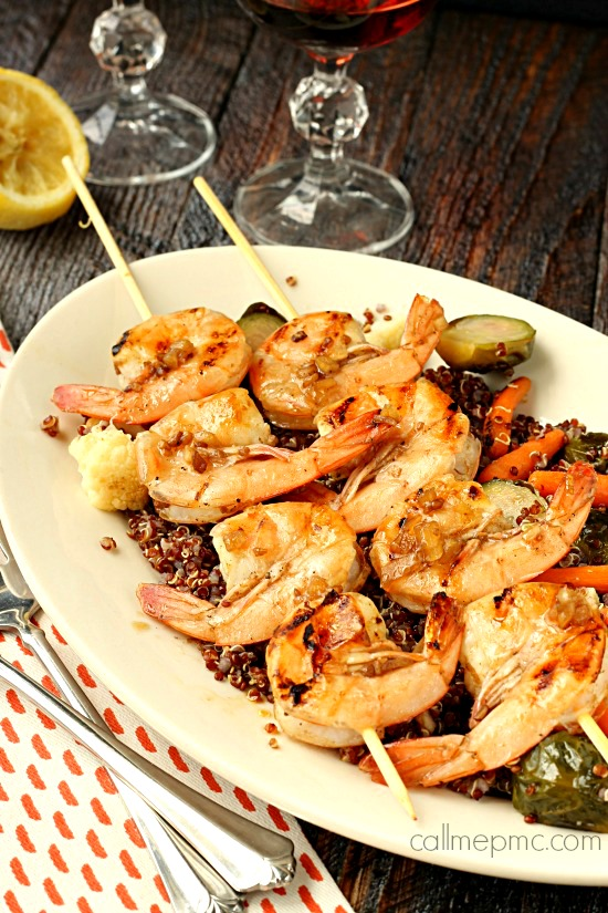 Grilled Balsamic Shrimp with Roasted Vegetable Quinoa wm2