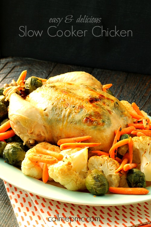 Slow Cooker Chicken is the secret to moist, flavorful and delicious chicken! A simple spice mix is layered between the skin and chicken allowing for maximum flavor cooked into the chicken.
