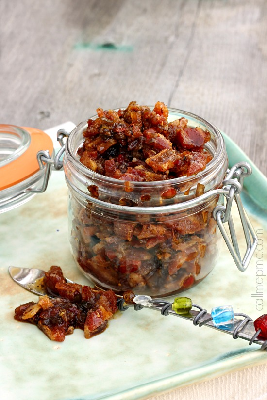 Bacon Jam It's sweet, salty and smoky! Perfect on burgers, sandwiches, quesadillas, and dips. This recipe has only six ingredients & comes together quickly.