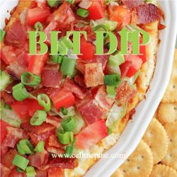 BLT Dip is quick, easy, tasty, & the perfect appetizer. This creamy dip, served hot or cold, is filled with bacon, tomatoes, & green onions.