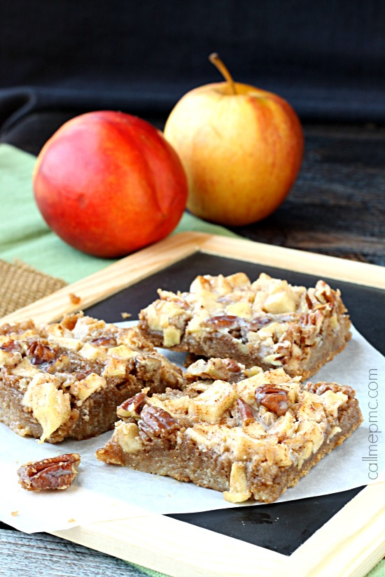 Caramel Apple Pecan Bars are robust in fall flavors. They're rich, dense, and soft. You'll love the fudgy-brownie-like texture, the chewy apples, and crunchy pecans. #dessert #bars #apple #pecans #recipe