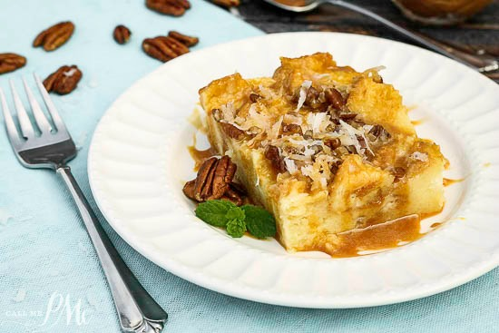 Caramel Coconut Cream Bread Pudding is rich and dense with a velvety smooth interior, crisp top and smothered in caramel!