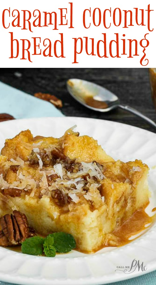 Caramel Coconut Cream Bread Pudding is rich and dense with a velvety smooth interior, crisp top and smothered in caramel! #dessert #coconut #caramel via @pmctunejones