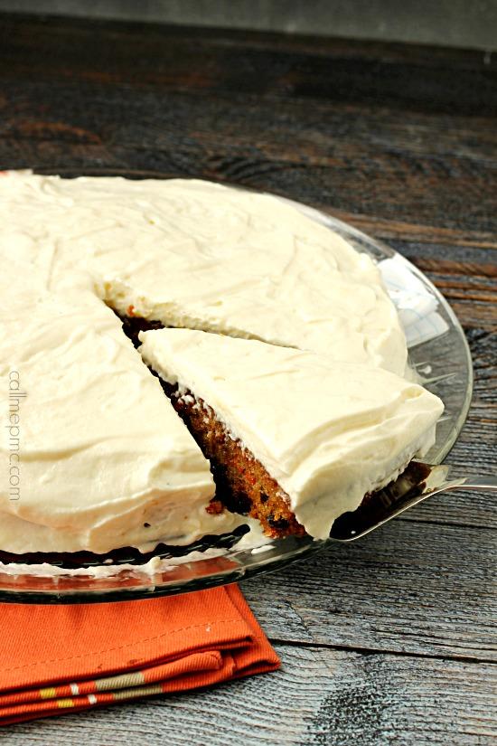 Carrot Cake Poke Cake Caramel Glaze Whipped Cream Frosting