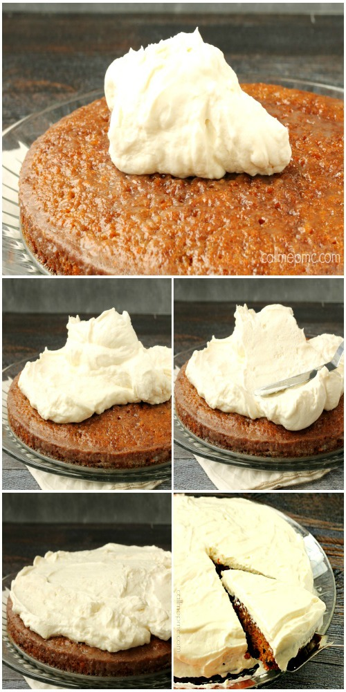 Carrot Cake Poke Cake with Salted Caramel Cinnamon Glaze how to frost a cake