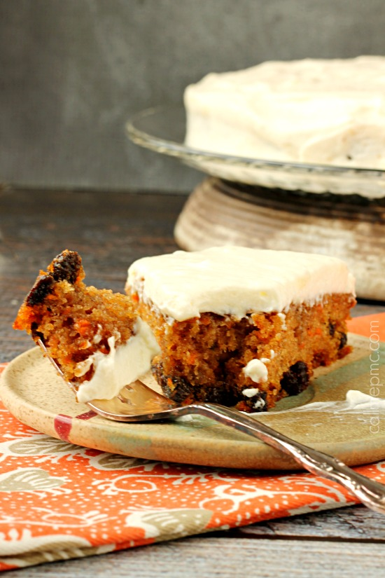 Carrot Cake Poke Cake with Salted Caramel Cinnamon Glaze