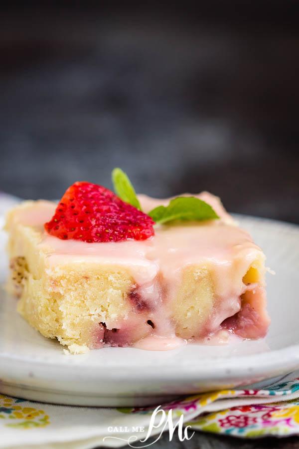 Fresh Strawberry Yogurt Cake is a beautiful, deliciously moist, and flavorful sheet pan cake. #cake #strawberrycake #recipe #sheetpan #dessert