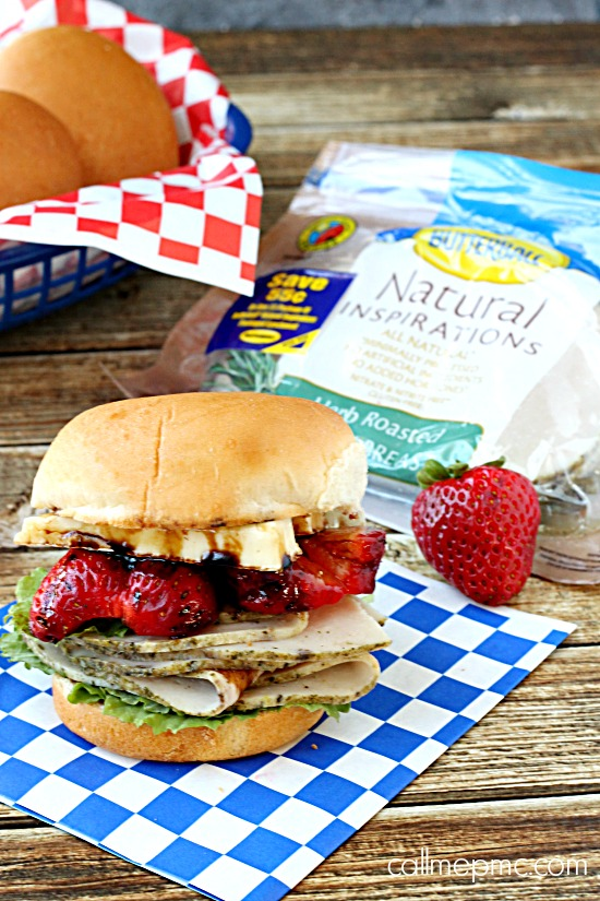 Turkey Strawberry Brie Sandwich with Balsamic reduction