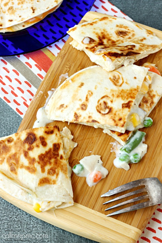 Chicken Pot Pie Quesadilla
