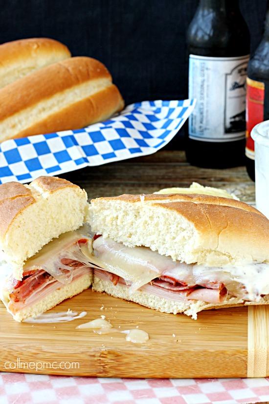 Deli Meat Ranch Melt Sandwich is no ordinary sandwich. Its hearty, gooey and smothered in ranch dressing. #sandwich #recipe via @pmctunejones