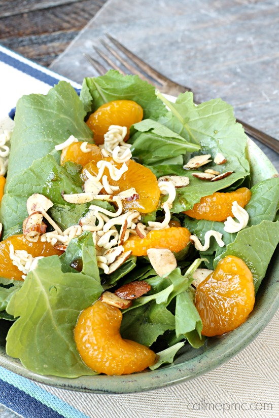 Romaine Toss, a zesty, sweet and spicy salad is a perfect lunch or side in 5 minutes! #salad #recipe #romaine #orange #mandarinorange #easy #ramen #almonds #healthy #greensalad via @pmctunejones