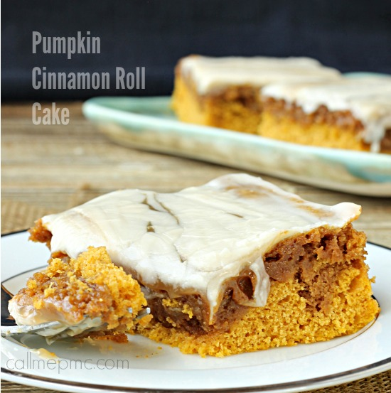 Tender and moist, Pumpkin Cinnamon Roll Cake is simply divine! It's incredibly simple to prepare and requires no waiting for yeast to activate and dough to rise. You'll be enjoying this dessert in less than an hour! #pumpkin #cake #cakemix #cinnamon #cinnamonroll