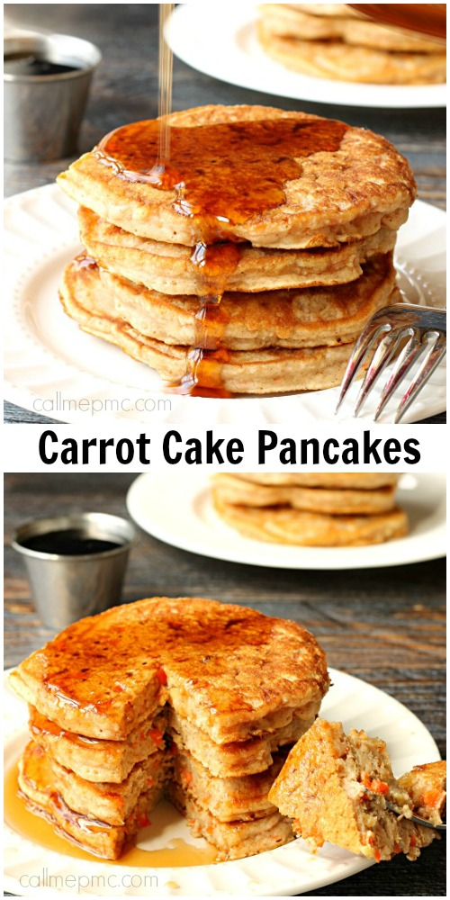 Stack of pancakes made with carrots. #recipe #pancakes #breakfast #carrots